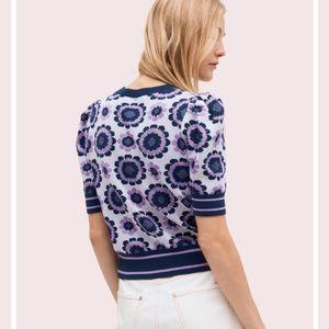 kate spade Tops - Kate Spade Geo Floral Short Sleeve Sweater